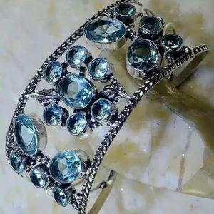 London Blue Quartz Flower Design  Bangle Bracelet
